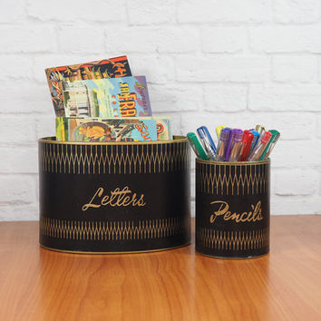 Midcentury Modern Desk Organizer Set Pencil Cup And Letter Hol