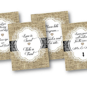 Burlap and Lace Wedding Signs 8x10 Printable Set of 4 black Love is Sweet  Leave your well wishes pick a seat not a side guestbook - program