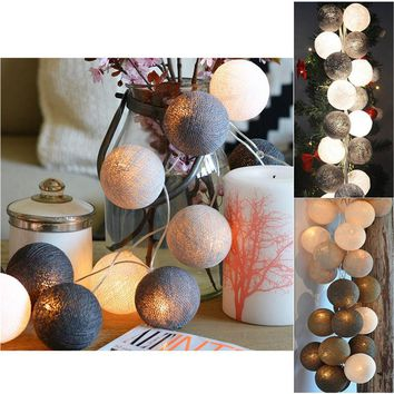 Cotton Ball 20 LEDs AA Battery Powered Globe Led String Lights Outdoor Garland Crawling Lighting For Wedding Garden Decoration
