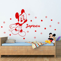Customized Name Kids Room Decoration Vinyl Decals personalized Cartoon Mickey Mouse wall Sticke Removable Baby Room Decals CB-4