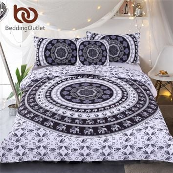 BeddingOutlet Vanitas Bedding Set Queen Size Bohemia Modern Duvet Cover Set Indian Black and White Printed Quilt Cover 4Pcs Hot