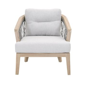 Web Outdoor Club Chair Platinum Rope, Pumice Fabric, Gray Teak