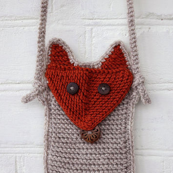 Knitted Phone Case Fox with Shoulder Strap Small Shoulder Messenger Bag Fox Phone Cozy Phone Sleeve, iPhone 6 Sock Case Samsung Galaxy Case