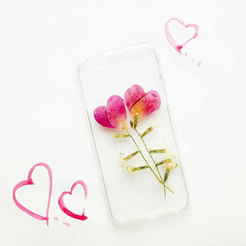 iPhone 6 and 6s case, real pressed flower phone case, resin floral bumper case, briar petal case, rose pink case