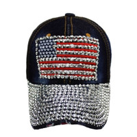 """Patriotic Me"" Red White and Blue, American Flag Dark Denim 'Bling' Hat"