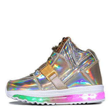 Y.R.U for Women: Qozmo Aiire Gold Sneakers