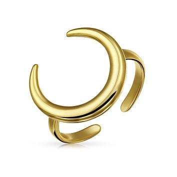 Crescent Moon Horn Thumb Ring Open Band 14K Gold Plate Sterling Silver