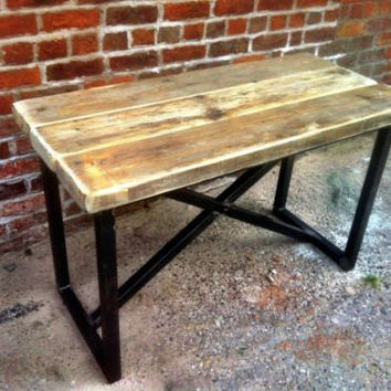 Industrial Mill Style Reclaimed Wood Console Table