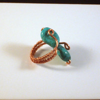 BOHO CHIC - Turquoise Stone Ring Wrapped and Woven with Copper  Wire and 2 Stones. Wire Wrapped Art in two gauges of Copper Wire