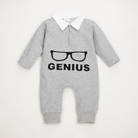 Autumn Winter Baby Rompers Glasses Frames Pattern Newborn Baby Clothes Cotton Warm Long Sleeve Baby Clothing Jumpsuit