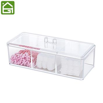 Clear Acrylic Makeup and Jewelry Organizer Cotton Swabs Makeup Sponges Makeup Pad and Jewelry Storage Box