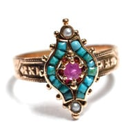 Victorian Persian Turquoise & Ruby 14K Rose Gold Ring - Aesthetic Movement - Size 8.5