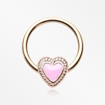 Rose Gold Valentine Lacey Heart Steel Captive Bead Ring