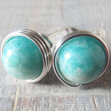 Amazonite Stud Earrings - Blue Stone Earrings - Amazonite Jewelry - Wire Wrap Earrings - Aqua Earrings - Gift for Wife - Light Blue Earrings