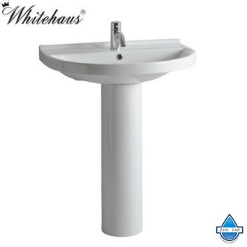 Whitehaus LU044-LU005 White Porcelain U Shape Bathroom Pedestal Sink
