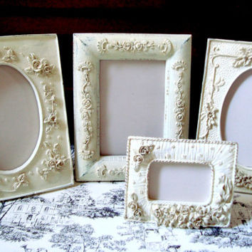 Shabby Chic Elegant Cream Painted Set of 4 Frames With Flowers, French Cottage Floral Detailed Picture Frames, Cottage Chic Table Display