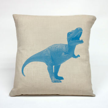 """Graphic Pillow Handcrafted Dinosaur size 16 x 16"""" Without Insert"""