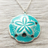 Sand Dollar Ocean Necklace, Teal Patina Sand Dollar Pendant, Sterling Silver Jewelry, Beach Necklace, Blue, Green, Gift, Beach Jewelry