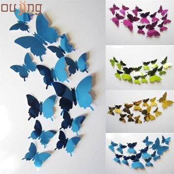 New Qualified 2017 wall stickers for kid Decal Butterflies 3D Mirror Wall Art Home Sticker Decors Levert Dropship dig6314