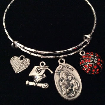 Graduation Basketball Saint Joseph Angel Wings Silver Expandable Charm Bracelet Adjustable Bangle Gift