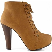 Qupid Puffin-06 Camel High Heel Boot Nubuck Lace up Platform Bootie - High Heel Camel Bootie