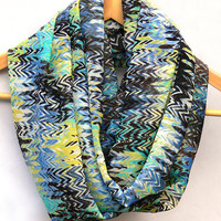 Chevron Infinity Scarf. Multicolor Circle Scarf. Loop Scarf. Women Accessories
