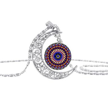 HOT! enamel mandala flower silver Moon necklace charm henna yoga pendant handmade necklace India jewelry om symbol buddhism S26 2