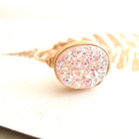 White Druzy Ring Amaretto Gold Druzy oval ring geometric jewelry drusy quartz Under 60 Vitrine Designs