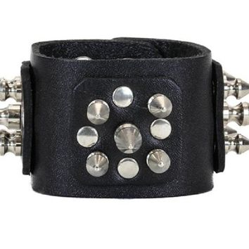 Silver Spikes Cluster Black Leather Wristband Bracelet Cuff