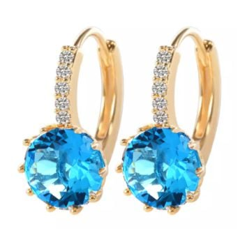 Pretty Aqua 3.5CTW CZ Solitaire Yellow Gold Hoop Earrings