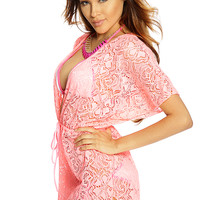 Neon Pink Open Knit Plunging Swimsuit Cover Up