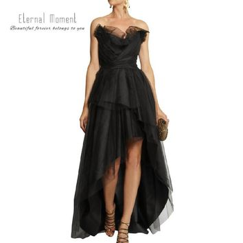 Backless Off Shoulder Strapless Black Prom Dress Short Front Long Back Tiered Party Dress Evening Gown