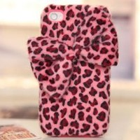 JH Gifts Cute 3D Plush Bow Leopard TPU Case Cover Skin for iPhone 4 4S (Pink)