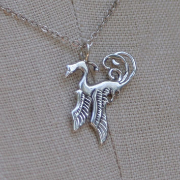 Bird Necklace, Phoenix Necklace - solid sterling silver pendant and chain