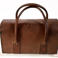 Amazing old Little real leather British  WORKBAG -  WMGB West Midland Gas Board