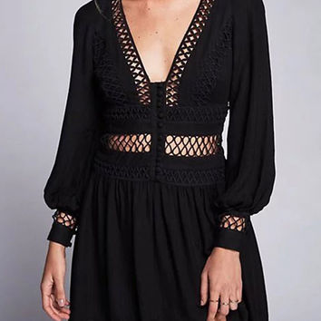 Black Plunge V-neck Cut Out Detail Back Split Long Sleeve Dress