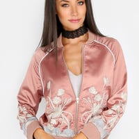 Embroidered Satin Bomber Jacket DUSTY PINK | MakeMeChic.COM