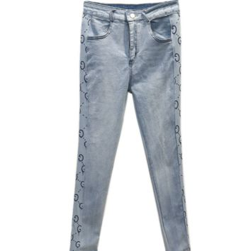GUCCI New summer patch jeans slim high waist woman side more letter print jeans back pocket print pants two color blue