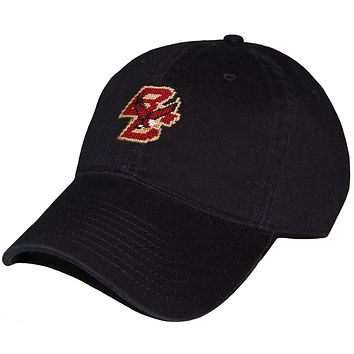 Boston College Needlepoint Hat in Black by Smathers & Branson