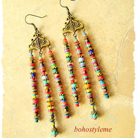 Boho Beaded Earrings, Long Bohemian Earrings, Colorful Beaded Earrings, Original Handmade, bohostyleme, Kaye Kraus