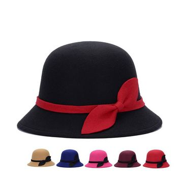 New Bow Tie Lady Fedoras Cloche Wool Felt Hats for Women Fedora 32d53d75a508