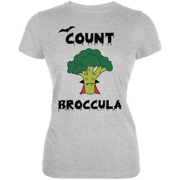 ONETOW Halloween Vegetable Broccoli Count Broccula Dracula Funny Juniors Soft T Shirt