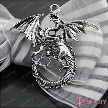 DCCKHY9 (27063-G)2PCS 47*43MM Antique Silver Plated Zinc Alloy Necklaces Pendants Dragon Pendants Diy Handmade Jewelry Findings