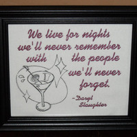 "Friend Sign Gift ""People We'll Never Forget""  8x10 Framed Embroidery- adjustable in color"