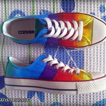 rainbow custom converse colorful painted shoes low tops