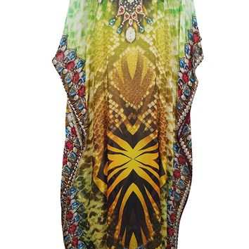 Mogul Interior Anahi Georgettina Flowy Rhinestone Long Digital Print Caftan One Size (Green,Yellow): Amazon.ca: Clothing & Accessories