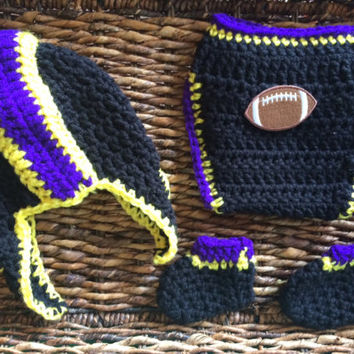 Crochet Baltimore Ravens Theme Football Baby Helmet Hat Diaper Cover Gift Set