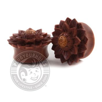 Carved Flower Saba Wood Plugs