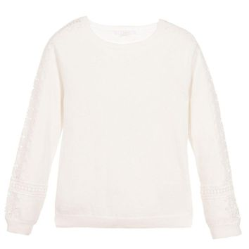 Girls Ivory Wool Fancy Sweater (Mini-Me)