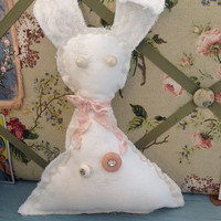 Easter bunny, Vintage white linen rabbit shelf sitter, shabby chic bunnies, nursery decor rabbits
